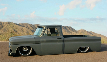 1966-Gmc-Fleetside - Classic, GM, Lowered, Truck