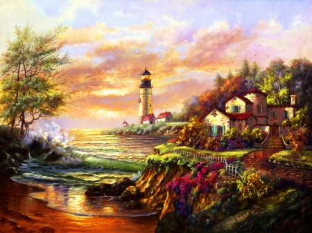 sunset lighthouse other amp abstract background wallpapers