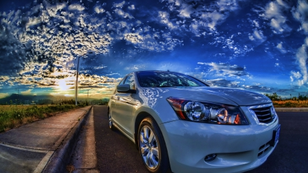 honda accord on a street in a spectacular sunset - sunset, clouds, street, car