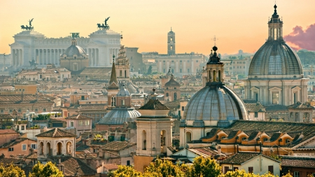 splendid roof line view of rome - statues, city, view, roofs, domes