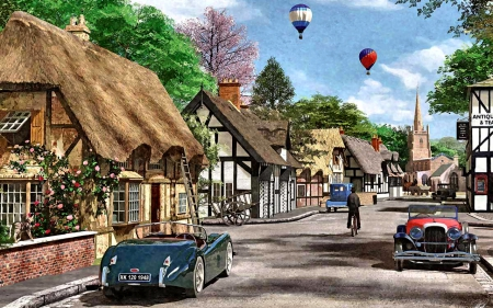 Hot Air Balloons 5 - architecture, art, cityscape, artwork, tudor, balloons, painting, wide screen, thatched, scenery
