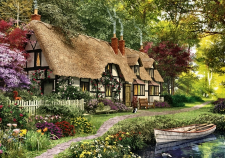 Thatch-roofed Cottage F5mp - architecture, art, cottage, artwork, tudor, thatch, painting, wide screen, scenery, landscape