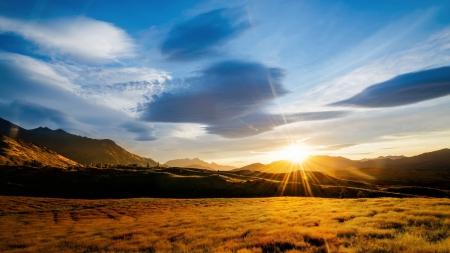 Beautiful Mountain Sunrise Sunsets Nature Background Wallpapers