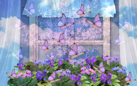 Spring Window with Butterflies - Viola Tricolor, art, window, spring flowers, curtains, design, sakura tree, creation, butterflies, spring, clouds, windowsill, flowers, spring window, violet, blue sky