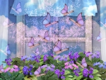 Spring Window with Butterflies