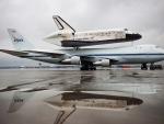 discovery shuttle on it's way to the air and space museum