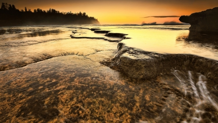 rocky sea shore at sunset hdr - rocks, shore, plates, hdr, sunset, sea