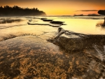 rocky sea shore at sunset hdr