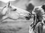 native american girl and horse
