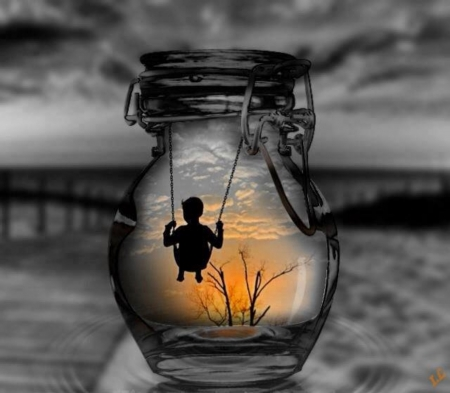 At the dawn of a new day - black and yellow, jar, child, sunset, dream, two colors