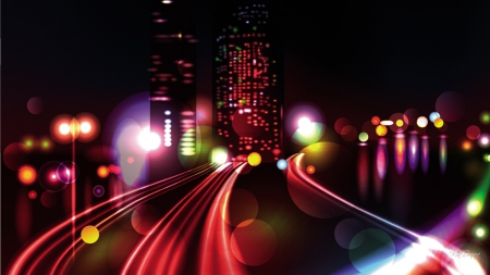 Speed of City Life - glow, town, abstract, lights, skyscrapers, windows, speed, city, movement, street, night