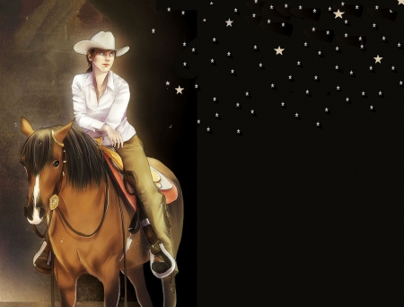 Cowgirl And Stars - stars, art, hats, cowgirl, fun, sky, horses, fantasy, anime, drawing, western