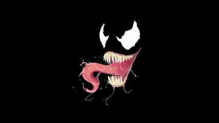 Venom - marvel, black background, venom, marvel comics, comics, mask, villain, tongue