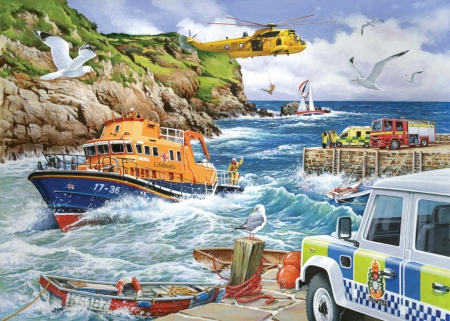 National Rescue Services - water, boat, fire engine, helicopter, ambulance, police, lifeboat, air rescue