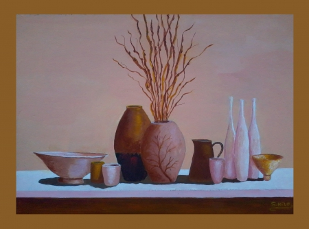 still life painted by saad kilo2012 - art, still life, paintings, impresionism, oil paintings, vases, color, nature