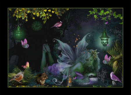 FAIRY - WINGS, ANIMALS, FEMALE, BUTTERFLIES, BIRDS, NIGHT, FAIRY