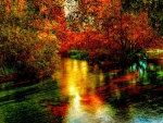 amazing river in autumn hdr