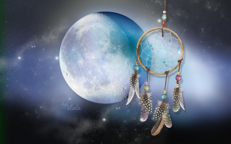 Catch Your Dreams - Viola Tricolor, art, dreams, design, creation, moon, dream catcher, dark, light, blue, night