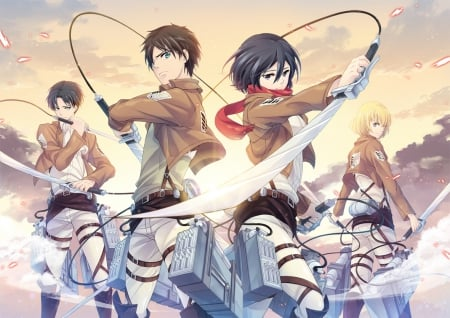 Shingeki no Kyojin - hd, fighter, guy, group, blade, attack on titan, emotional, anime, anime girl, weapon, sword, team, female, male, armin, eren jaeger, levi, shingeki no kyojin, mikasa ackerman, mikasa, boy, warrior, eren, serious