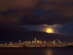 rising moon over vancouver