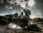textured view of old steam train