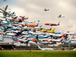 dozens of planes and airlines taking off