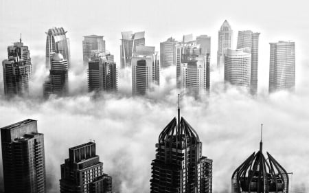 Spectacular Dubai Skyline In Black And White Skyscrapers