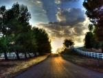 countryside asphalt road at sunrise