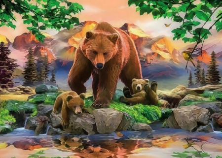 ★MaMa Grizzly Bear★ - family, paintings animals, attractions in dreams, beautiful, seasons, paintings, love, jungle, forests, butterfly designs, animals, warm, lovely, love four seasons, birds, creative pre-made, butterflies, summer, wildlife, nature, bears, beloved valentines, grizzly bears, outdoor