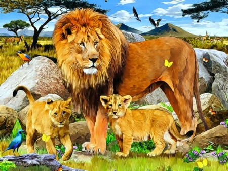 ★Pride of the Lions Family★ - family, paintings animals, attractions in dreams, beautiful, seasons, paintings, love, jungle, forests, butterfly designs, lions, animals, warm, lovely, love four seasons, birds, creative pre-made, butterflies, summer, wildlife, nature, beloved valentines