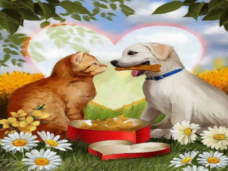 ♥For Beloved One♥ - paintings animals, attractions in dreams, seasons, lovers, paintings, flowers, lovely flowers, animals, love four seasons, creative pre-made, spring, hearts, puppies and kittens, weird things people wear, cats, all heart, beloved valentines, dogs