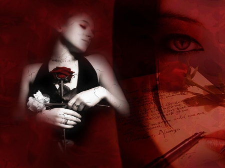 Love Letter - red, gothic, dark, black, cracks, roses, love letter
