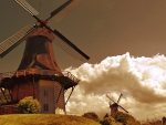windmills in clouds