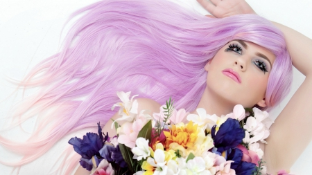 Fashion Girl - pose, purple hair, lips, girl, dreamer, makeup, flowers, beauty, fashion, pink