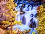 beautiful firehole falls in yellowstone park hdr