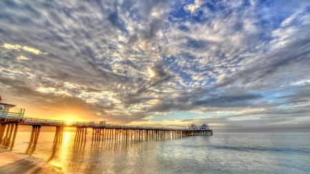 long sea pier in bright sunrise hdr - beach, pier, bright, hdr, sunrise, clouds, sea