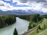 railroad tracks along a beautiful river