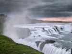 gullfoss waterfalls on the hvitau river in iceland