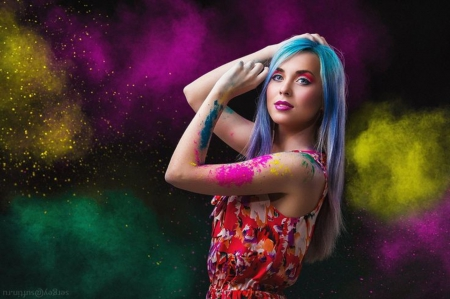 Under a colored powder of stars - powder colored, beauty, splash color, fashion, woman, world colorful