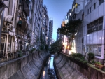 back alley canal in tokyo