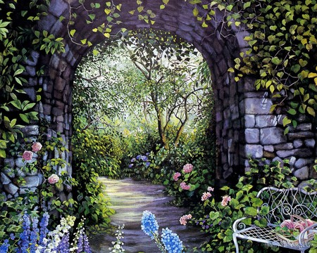 AFTERNOON WALK 1 - flowers, arch, entrance, painting, bench, art, garden