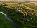 aerial view of a rural village in lithuania
