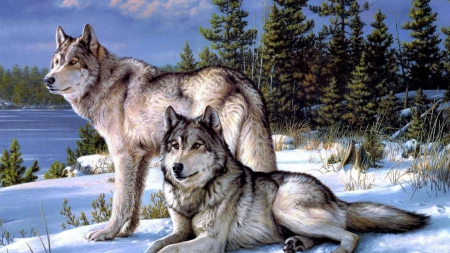 Beautiful Painted Wolves - art, snow, painting, nature, animals, Wolves