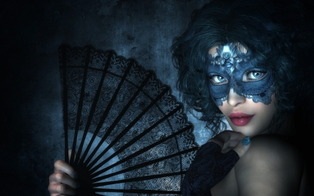 Fantasy girl - masquerade, fantasy, girl, fan, eyes, mask, woman, blue