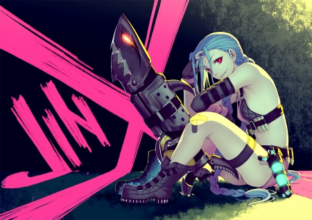 It's almost time Darling! - pretty, game, beautiful, league of legends, lights, ponytail, jinx, nice, fantasy, gun, anime, beauty, anime girl, vampire, weapon, long hair, braid, smile, sexy, demon, cool, blue hair, dark, big gun, e girl, awesome, red eyes