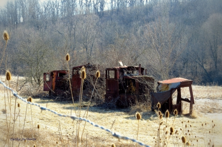 Abandoned Old Train - architecture, locomotive, transportation, country, barbed wire, train, rust, nature, wire, field