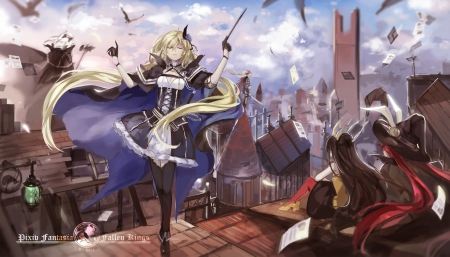 Abracadabra - pretty, magic, clouds, nice, fantasy, anime, flowers, beauty, anime girl, vampire, weapon, long hair, sword, twintail, aime, sky, wa, building, demon, witch, dress, rose, anime girls, beautiful, armeechef, city, pixiv fantasia, fallen kings, friends, female, war, blonde hair, twintails, hat, fight