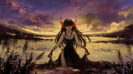 Black Thousands of Birds - dress, scenic, eerie, horror, creepy, scare, emotional, anime, darkness, gloomy, scary, anime girl, scenery, long hair, black hair, night, gown, gloom, sky, girl, creep, dark, sorrow, scene, serious