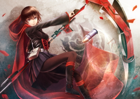 Ruby Rose - sexy, abullet, hot, black, anime girl, magic, anime, serious, female, emotional, girl, red, rwby, ruby rose, weapon