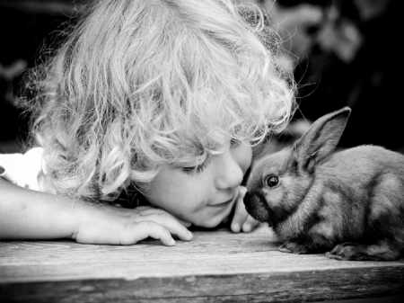 To Be A Child - boy, love, bunny, child, sweet